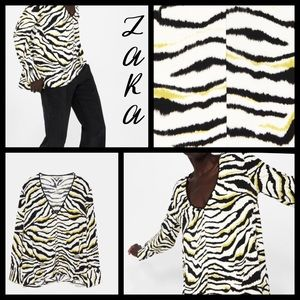 Zara Basic woman's zebra print oversized blouse S